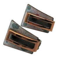Unique Enameled Signed Matisse Vintage Copper Clip Earrings FREE SHIPPING