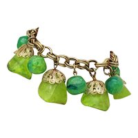 Fabulous Vintage Chunky Mid-Century Green Lucite Nugget Charm Bracelet FREE SHIPPING