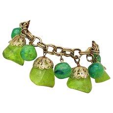 Fabulous Vintage Chunky Mid-Century Green Lucite Nugget Charm Bracelet