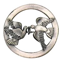 Pretty Pewter Figural Dove of Peace Vintage Brooch FREE SHIPPING