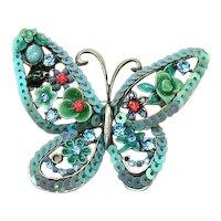 GORGEOUS Vintage Applied Flower Rhinestone Figural Butterfly Brooch Hidden Lady Bug FREE SHIPPING
