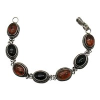 Gorgeous Vintage Sterling Silver 925 Signed Bali BA Onyx Baltic Amber Bracelet FREE SHIPPING