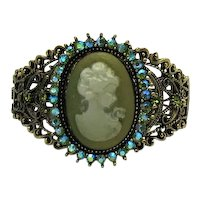 Fabulous Bold Costume Jewelry Molded Resin Cameo Peridot AB Rhinestone Hinged Metal Bracelet 65.2 Grams! FREE SHIPPING