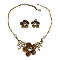 Gorgeous Unsigned Coro HUGE Rhinestone Flower Mid Century Necklace Screw Back Earrings Set FREE SHIPPING