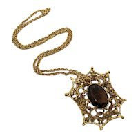 Unusual Signed Florenza HUGE Vintage Root Beer Glass Stone Rhinestones Necklace Convertible Brooch FREE SHIPPING