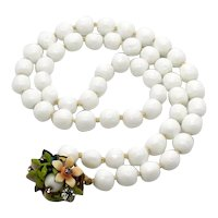 Fabulous Vintage White Milk Glass Baroque Pearl Necklace Knotted Floral Rhinestone Enameled Clasp 94 Grams FREE SHIPPING