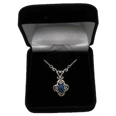 Beautiful Lapis Gemstone Sterling Silver 925 Lavaliere Style Vintage Necklace FREE SHIPPING