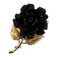 Pretty 3D Black Glass Molded Rose Signed Crown Trifari Vintage Brooch FREE SHIPPING