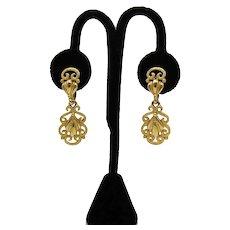 Pretty Signed Crown Trifari Vintage Golden Dangle Clip Earrings