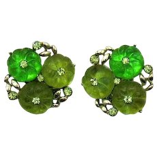 Rare Signed Lisner Shoe Button Glass Rhinestone Vintage Clip Earring FREE SHIPPING