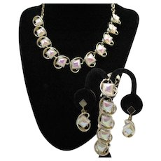 Hard to Find Mid Century Modern Iridescent Givre Milk Glass Parure Necklace Bracelet Clip Earrings FREE SHIPPING