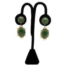 Fun Vintage Jade Green Confetti Lucite Dangle Screw Back Earrings
