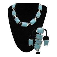 Fabulous Parure Faux Lucite Turquoise Vintage Necklace Bracelet Clip Earrings Set FREE SHIPPING