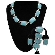 Fabulous Parure Faux Lucite Turquoise Vintage Necklace Bracelet Clip Earrings Set FREE SHIPPING