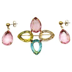 BOOK Signed Avon Romance Renaissance Pastel Accents 1986 Vintage Brooch Pierced Earrings Set Unworn FREE SHIPPING