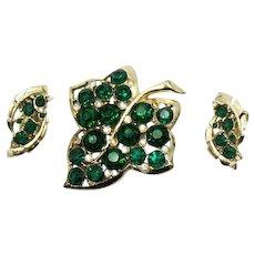 Bold Vintage Emerald Green Rhinestone Leaf Brooch Clip Earrings Set FREE SHIPPING