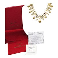 Signed Kenneth Jay Lane 13th Anniversary Golden Beaded Vintage Chainmaille Necklace Complete! FREE SHIPPING