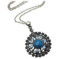 Massive Faux Turquoise Rhinestone Medallion Vintage Necklace FREE SHIPPING