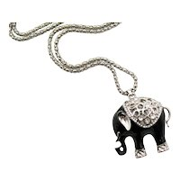 Vintage Black Silver Plated Three Dimensional Rhinestone Figural Elephant Necklace FREE SHIPPING