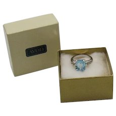 BOOK Signed Avon 'Blue Ice' 1983 Simulated Aquamarine Emerald Cut Ring Unworn Size 4 ½ Original Box FREE SHIPPING