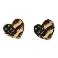 Book Signed Avon 'Heart of America' Vintage 1990 Heart American Flag Pierced Earrings Unworn