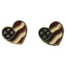 Book Signed Avon 'Heart of America' Vintage 1990 Heart American Flag Pierced Earrings Unworn