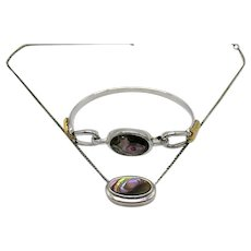 BOOK Signed Avon 'Abalone' 1978 Vintage Genuine Abalone Slide Necklace Bracelet Set Unworn FREE SHIPPING