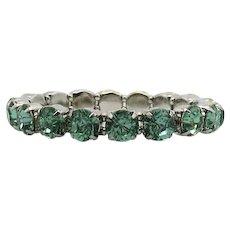 Amazing Green Peridot Mint Rhinestone Vintage Silver Plated Metal Stretch Bracelet Unworn FREE SHIPPING