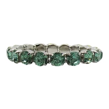 Amazing Green Peridot Mint Rhinestone Vintage Silver Plated Metal Stretch Bracelet Unworn FREE SHIPPING