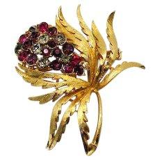 Beautiful Bold Vintage Rhinestone Flower Brooch FREE SHIPPING