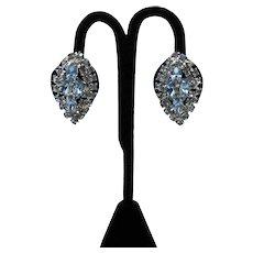 Bold Vintage Navette Blue Rhinestone Silver Plated Metal Clip Earrings