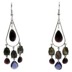 Gorgeous Vintage Briolette Rhodolite Pear Labradorite Gemstone Stainless Steel Pierced Dangle Earrings UNWORN FREE SHIPPING