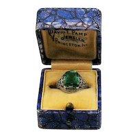 Gorgeous Antique 14K White Gold Filigree Art Deco Emerald Green Glass Ring Original Box FREE SHIPPING