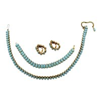 Vintage Turquoise Blue Milk Glass Navette Parure Necklace Bracelet Earrings FREE SHIPPING