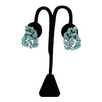 Large Signed Lisner Vintage Turquoise Colored Thermoset Rhinestone Clip Earrings FREE SHIPPING