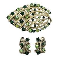 Bold Vintage Emerald Peridot Green Rhinestone Golden Brooch Clip Earrings Set FREE SHIPPING
