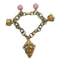 Signed BSK Vintage Egyptian Revival Crown Charm Bracelet FREE SHIPPING