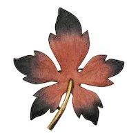 Rare Signed LG Lind Gal Vintage Naturalistic Enameled Leaf Brooch FREE SHIPPING