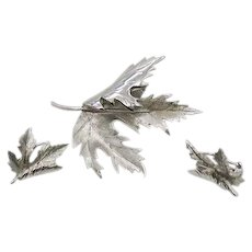 Gorgeous Naturalistic Vintage Silver Metal Leaf Brooch Earrings Set FREE SHIPPING