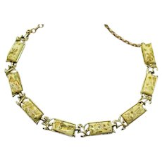 Nice Vintage Yellow Gold Confetti Lucite Signed Coro Necklace FREE SHIPPING