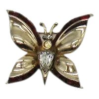Unusual Signed Coro Vintage 1940s Red Baguette Rhinestone Figural Butterfly Brooch FREE SHIPPING