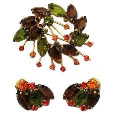 Amazing Autumn Rhinestone Costume Jewelry Brooch Earrings Set FREE SHIPPING