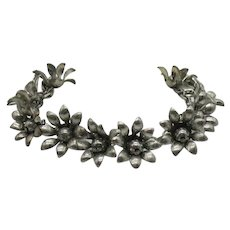 Antique 1920s Hand Crafted Sterling Silver Daisy Charm Bracelet FREE SHIPPING