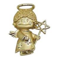 Signed AJC Vintage Figural Golden Angle Brooch