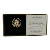 Unusual Vintage Signed Banberry Designs Irish Claddagh Figural Hand Pin Original Box Unworn FREE SHIPPING
