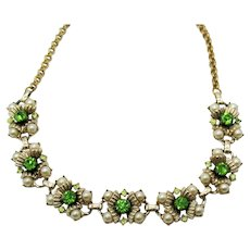 Gorgeous 1940s Vintage Heavy Peridot Rhinestone Faux Pearl Tulip Necklace FREE SHIPPING