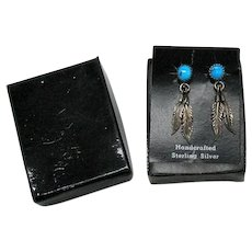 Vintage Native American Indian Sterling Silver 925 Natural Turquoise Feather Pierced Earrings Original Card Box FREE SHIPPING