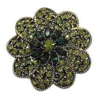 Signed Hollycraft Vintage Brooch Peridot Emerald Green Rhinestones FREE SHIPPING