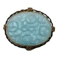 Antique Victorian Signed Germany Turquoise Rose Glass Cameo Brass Brooch FREE SHIPPING