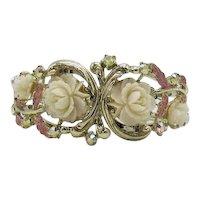 Very Unusual Vintage Celluloid Flower Clamper Bracelet Rhinestones Pink Enameling FREE SHIPPING